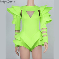 new bar DJ sexy nightclub singer dance clothing fashion shoulder one piece white Fluorescence green costume for lady