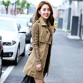 Spring autumn new overcoat women long Slim large size women's double-breasted Trench coat 3colors Knit sleeve trench coat TT440