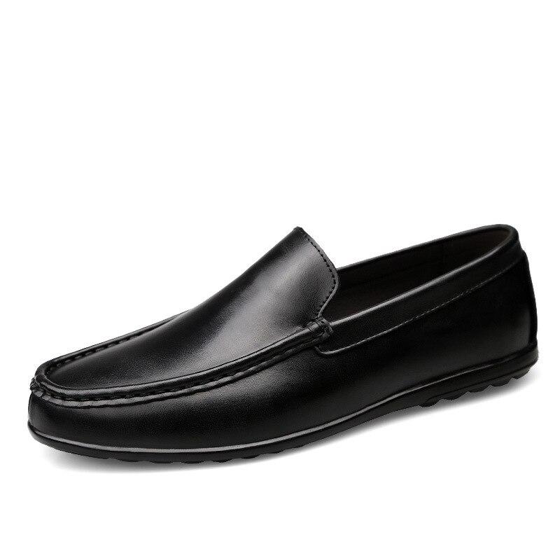 Hombres Ocio Los Negro Casual De Otoño En Deslizamiento Genuino Mocasines naranja Conducción Sólido Zapatos Cuero Para 6CrCYqvw
