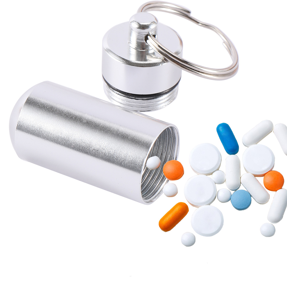 1pc Creative Stainless Steel Medicine Bottle Keychain Case Container Waterproof Holder Aluminum Drug Pill Box Keyring