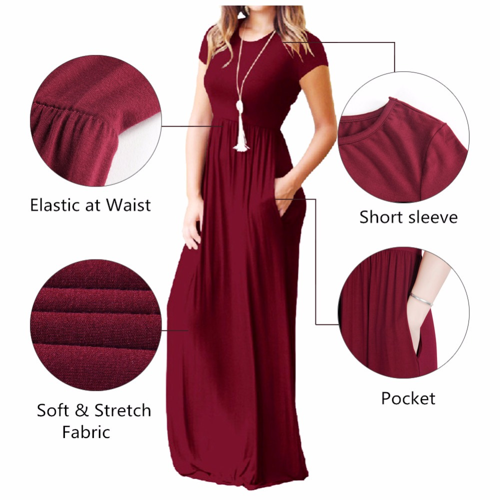 Summer Maxi Long Dress Women Femme Boho Long Dresses Plus Size Casual Pockets New Short Sleeve O-neck Solid Dress S-2XL GV598 4