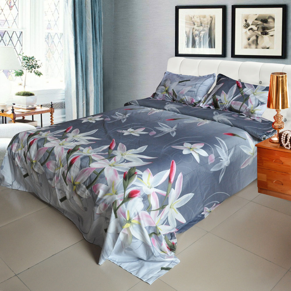 4pcs 3d printed bedding set bedclothes white lily on light black background kingqueen size