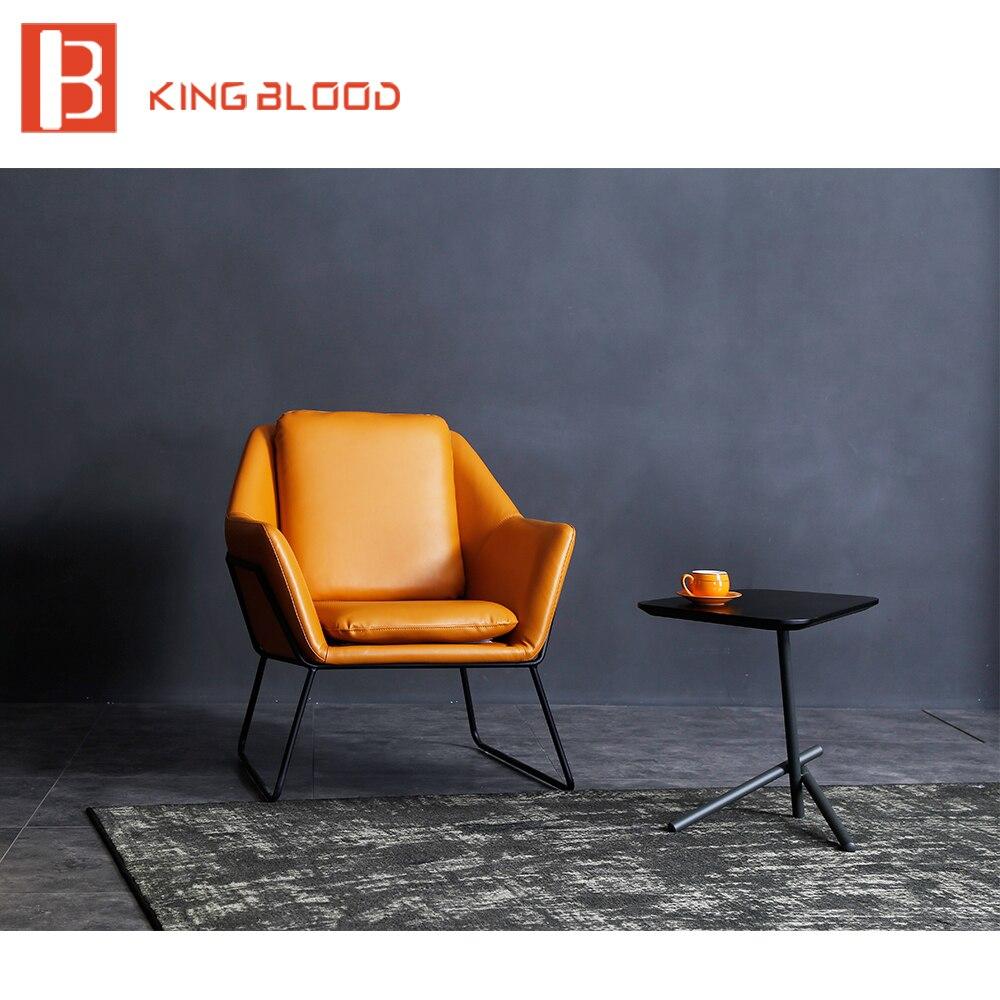 Cadeira de couro moderno estilo simples para sala de estar