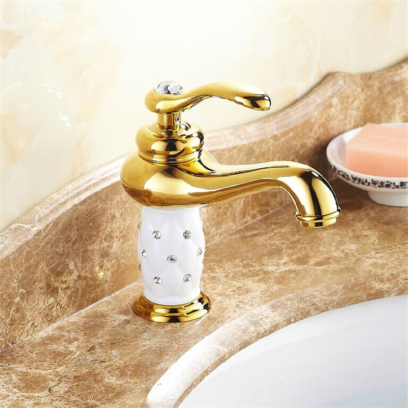 Free shipping solid brass and white paint ceramic bathroom faucets ...