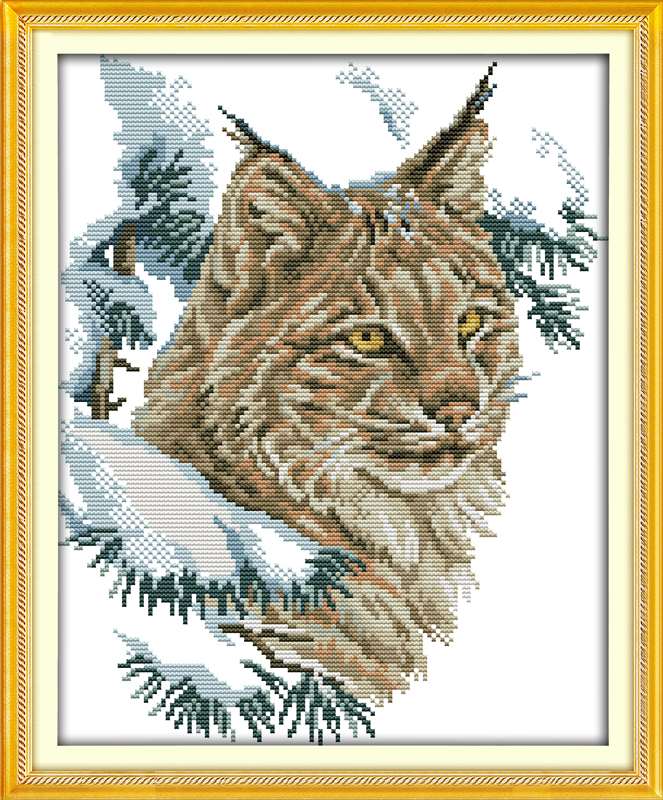 Wildcat,counted printed on fabric DMC 14CT 11CT Cross Stitch kits,embroidery needlework Sets, Home Decor