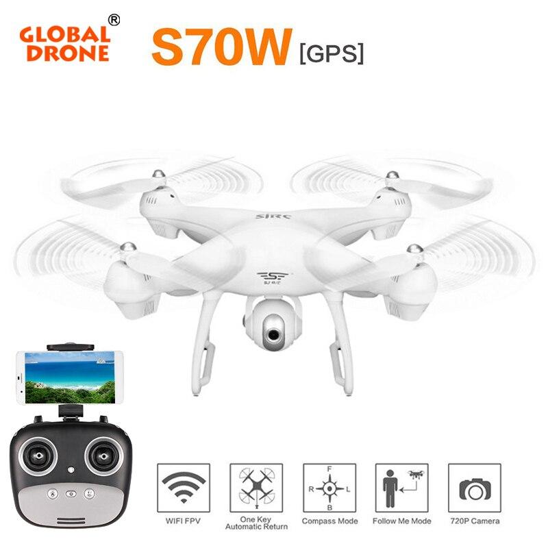 Глобальный Drone S70W Follow Me режим долго летать Wi-Fi FPV Дрон с Камера HD Широкий формат вертолет Drone GPS VS X183 ...