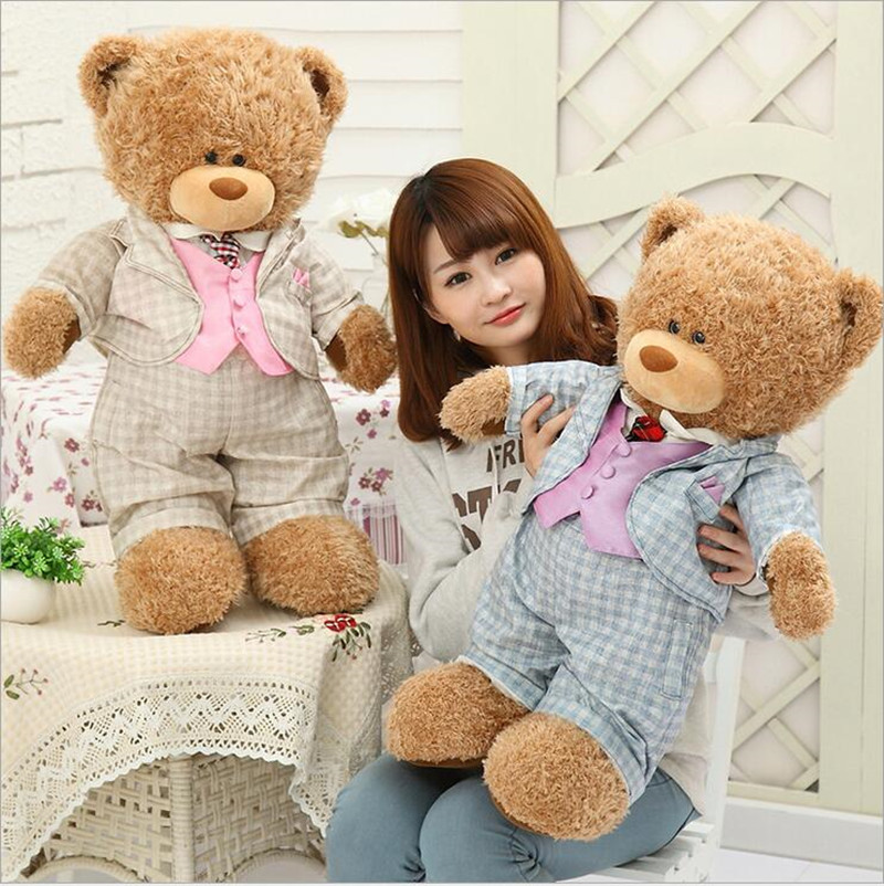ФОТО 1pcs Suit Bear Doll Wearing Suits Gift Big Plush Toys for Birthday gift Valentine's Day Gift for Girlfriend Juguetes Brinquedos