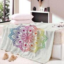Mandala Dreamcatcher Throw Blanket Boho Bohemian Sherpa Fleece Bedding Velvet Plush Pink and Blue for Beds