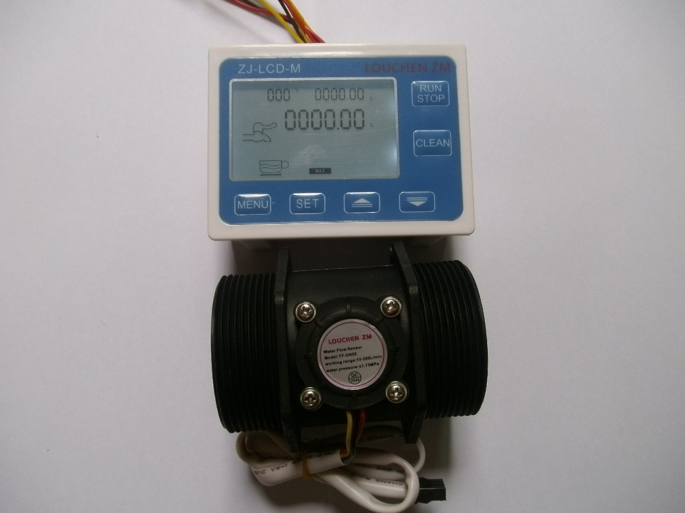 G 2 inch DN50 Flow Rate Water Sensor Meter LCD Digital Display Control Programmable