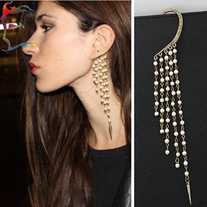 Jewelry Fashion Bead Spike Tel Ear Cuff Clip Earring 12pcs Lot Long Chain Hanging Pendant