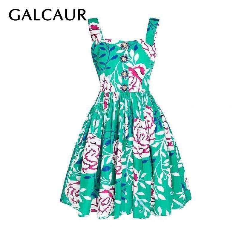 GALCAUR Flower Print Sleeveless Women Dress Off Shoulder High Waist Slim Pleated Dresses Female Fashion 2019
