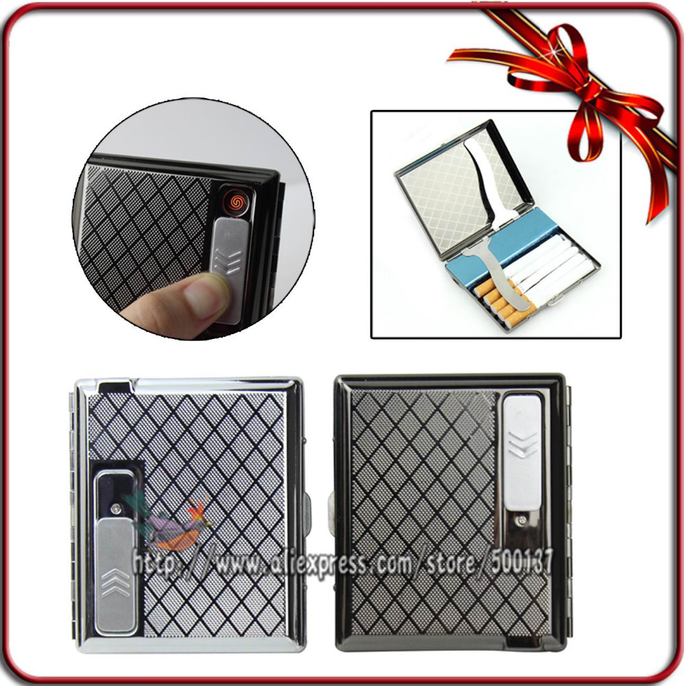 W Built in USB Flameless Electronic Rechargeable Lighter Cigarette Case Holder