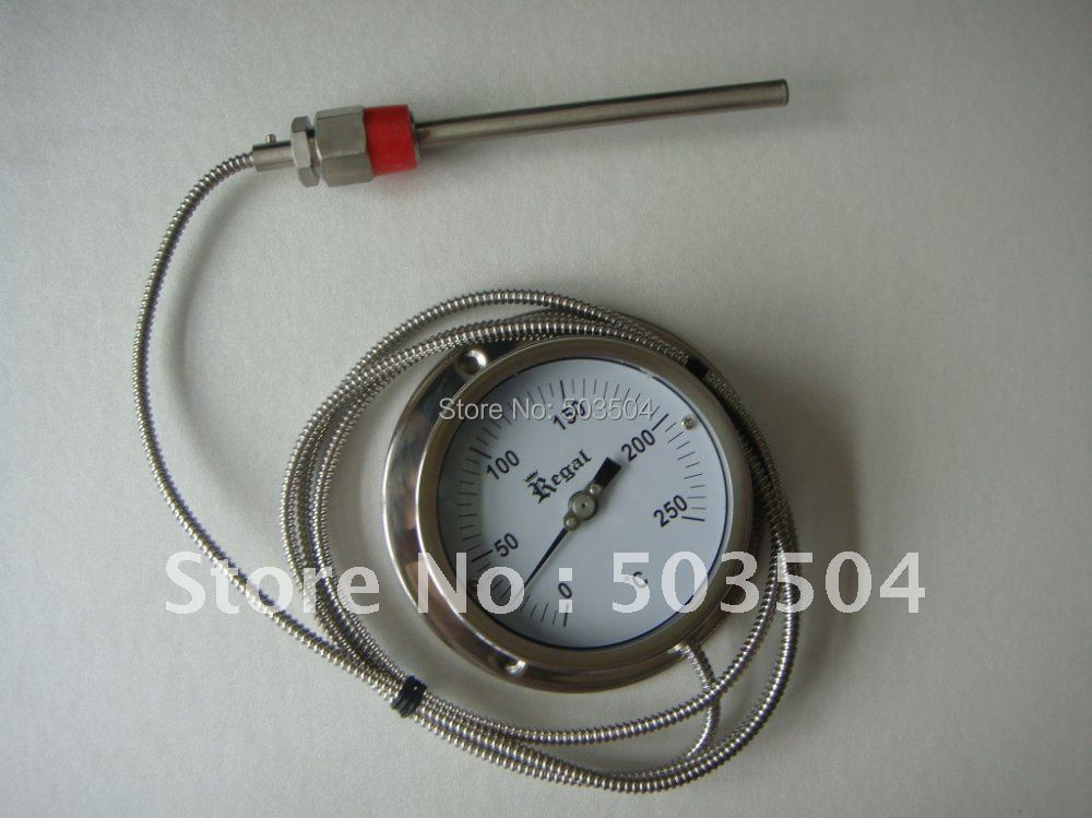 Capillary bimetal thermometer SS 304 case, best price ,good quality remote bimetal thermometer with capillary dial 3