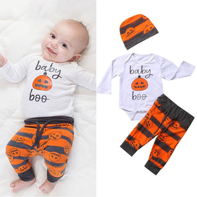 3pcs newborn baby halloween clothing romper jumpsuit bodysuitpants clothes outfits set