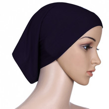 Plain Muslim Headscarf Inner Hijab Caps Wraps Women Islamic Under Scarf Ninja Ramadan Stretch Cotton Bonnet