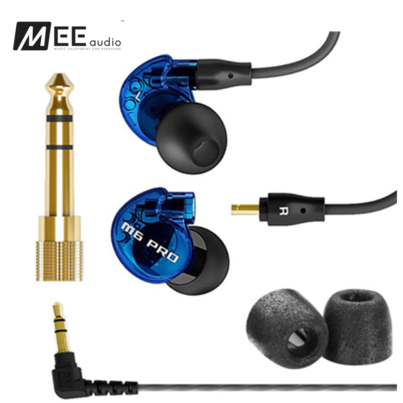 24 hours shipping Original Blue MEE audio M6 PRO Universal-Fit Noise-Isolating Earphones Music In-Ear Monitors headset With Mic new wired earphone mee audio m6 pro universal fit noise isolating earphones musician s in ear monitors headset with retail box