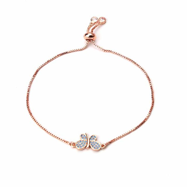 1pc Fashion Adjustable Rose Gold Butterfly Charms Pendants Slide Box