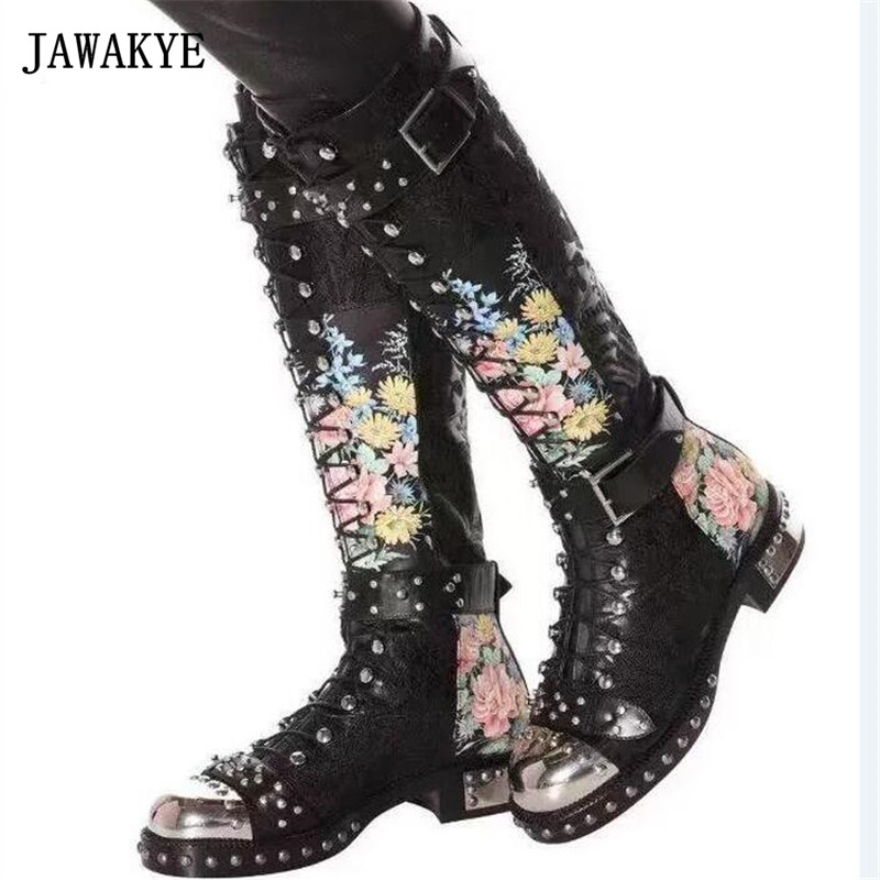 JAWAKYE Rivets Studded Buckle Knee High Boots Women Embroidered Leather Print Flower Flat Motorcycle Boots Winter Shoes Woman laete 51084