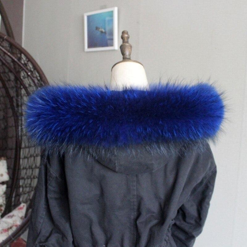 Зимняя куртка из натурального меха, воротник из натурального меха енота, женские шарфы, пальто, женская шапка, длинный теплый шарф из натурального меха, большой размер - Цвет: Royal blue