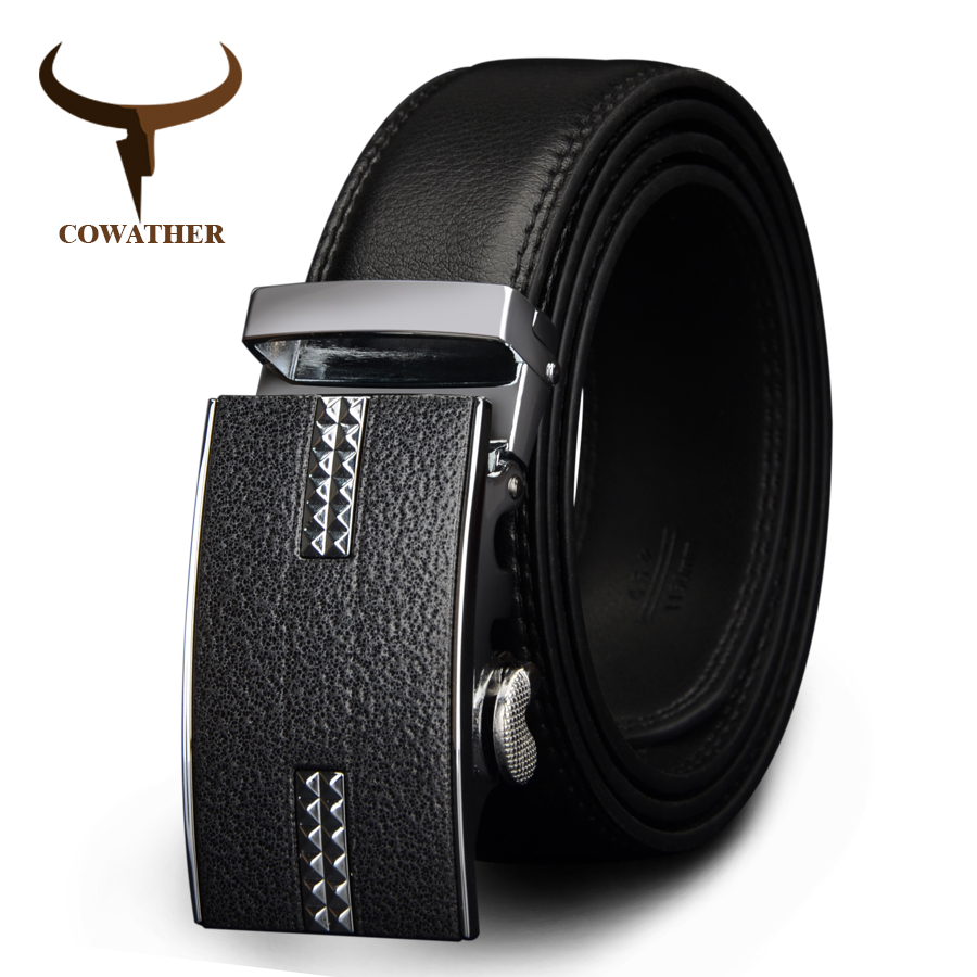 COWATHER big size men belts novelty cow genuine leather belts for men automatic alloy buckle black brown color size 34-44 cz037