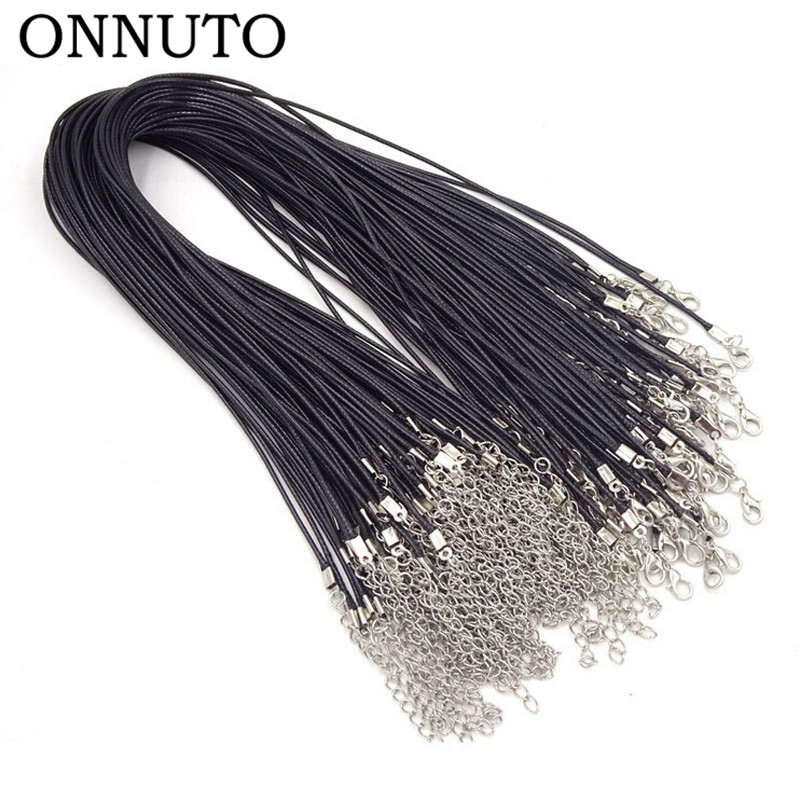 50pcs/lot Wholesale Black Leather Rope Cord Necklace Chain DIY String Strap Rope Lobster Clasp Leather Jewelry Chains