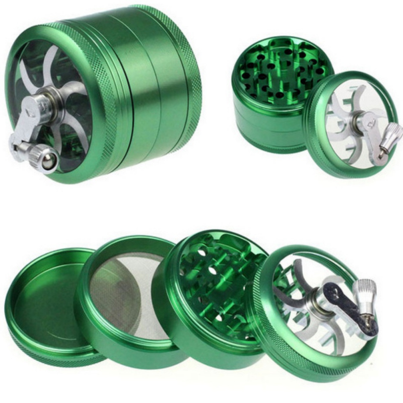 Grinder 4 Layers Herb Weeds Smoking Muller Grass Spice Smoke Crusher Aluminium Crank Pollinator Hand Tobacco Weed Accessories