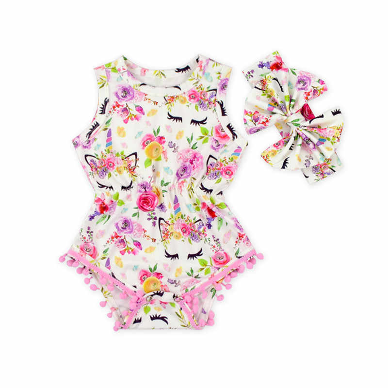 60c6bf479469 2018 new Summer baby girl unicorn pom pom rompers newborn Baby floral romper  with headband infant