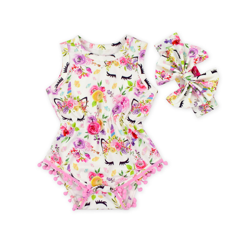 2018 new Summer baby girl unicorn pom pom rompers newborn Baby floral romper with headband infant child sleveless outfit clothes flower decorated kids headband with pom pom