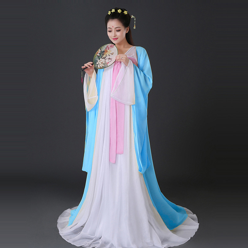 Women Performance stage Costume Fairy Ancient Princess Classical Hanfu Chinese Folk Dance Traditional Costume Chiffon Dress L170