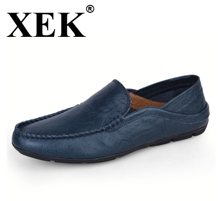 XEK Big size 37-46 slip on Casual men Loafers spring and autumn men Moccasins shoes Genuine leather men's Flats shoes New WFQ37 цена