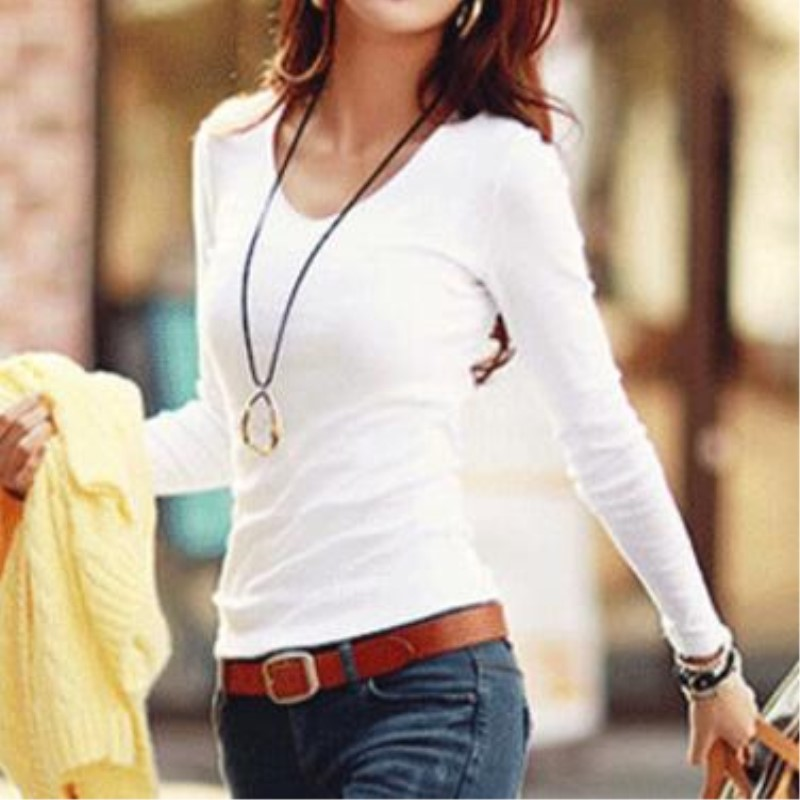 2017 Wild Solid Color Slim Women's Long-sleeved T-shirt Lady Shirt Shirt Collar Round Neck Collar V Neck