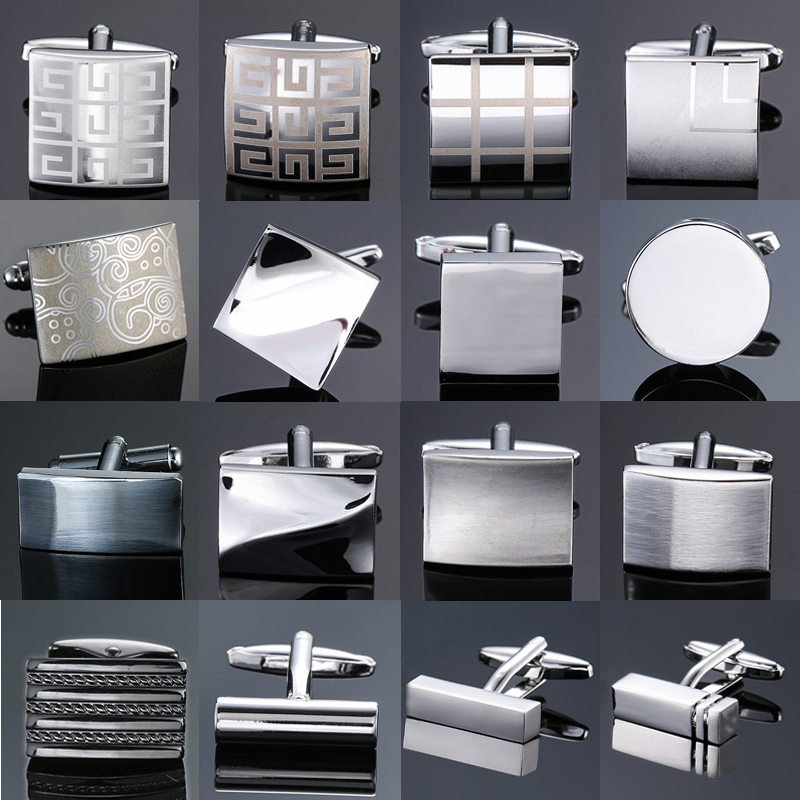 XKZM New Luxury Jewelry Brand Cuff-links High-grade Laser Square Check Pattern Metal Cufflinks Men's Shirts Free Shipping