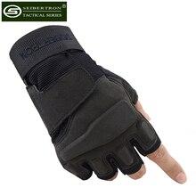 Seibertron Men's Black Color Half Finger Light Assault Military Tactical Gloves Men Fingerless Antiskid Outdoor Sport Gloves