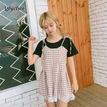 3b2490f6c7a7 Qlychee Sweet Lolita Style Playsuit Women Spaghetti Strap Lace Patchwork  Sleeveless Plaid Short Jumpsuit Summer 2018