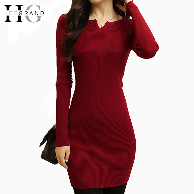 HEE GRAND <font><b>Women</b></font> Spring <font><b>Sexy</b></font> Sweater Bandage <font><b>Dress</b></font> <font><b>2018</b></font> <font><b>Autumn</b></font> Winter <font><b>V</b></font> <font><b>Neck</b></font> <font><b>Bodycon</b></font> Basic Mini Solid Color Knitted <font><b>Dress</b></font> WZQ208 image