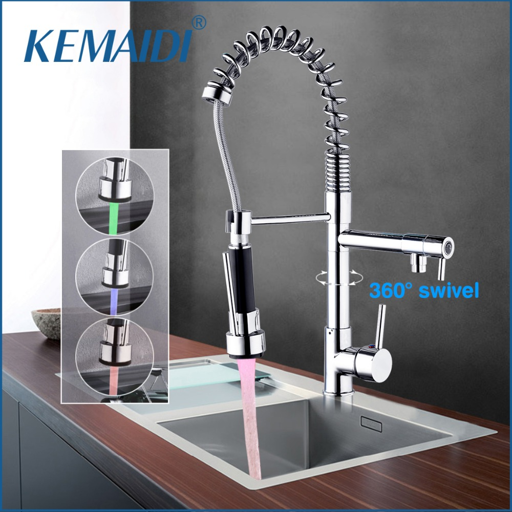 KEMAIDI Five Choice Free Shipping Chrome Brass Spring LED Light Kitchen Faucet Single Handle Hole Vessel Sink Mixer Tap
