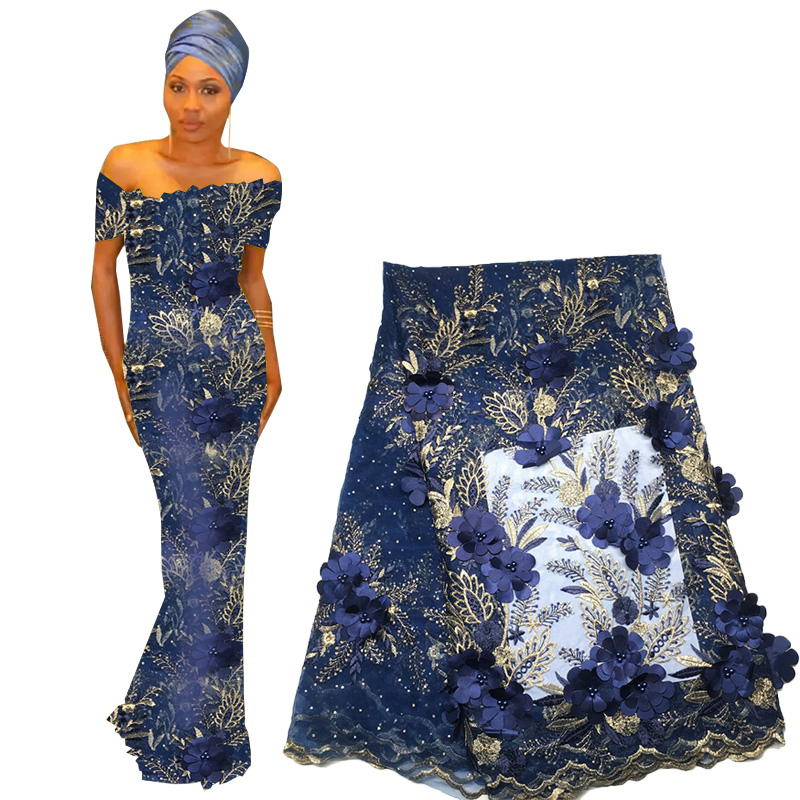 2019 Lace Fabric High Quality African French Tulle Lace Fabric With Beads 3D Flower Embroidered Nigerian Lace Fabric For Wedding