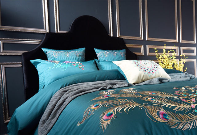 100S Egypt Cotton Peacock Feather Embroidery Luxury Bedding Set 4 6Pcs King Queen Size Bed Duvet Cover Sheet