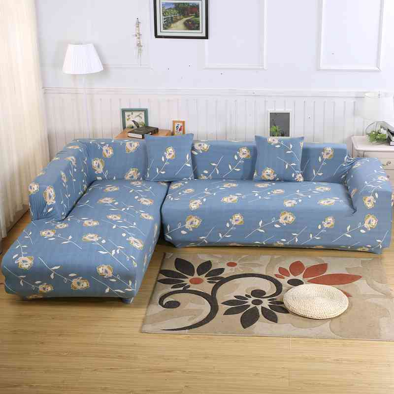 2pcs Sofa Cover Ideal for L shaped sofa Corner Chaise Floral Printed Elasticity Couch Cover Single