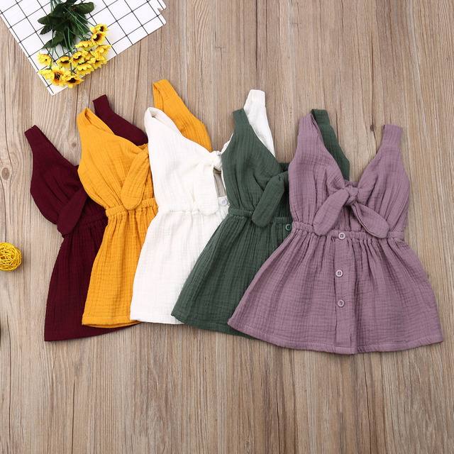 Pudcoco 2019 Summer Solid Toddler Baby Girl Sleeveless Fashion Dresses Sunsuit Outfits Casual Clothing Sundress Dropshipping