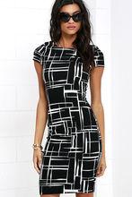 Новое платье с цифровым принтом Плитка в шотландскую клетку Черно-белое с коротким рукавом Сексуальн Лучший