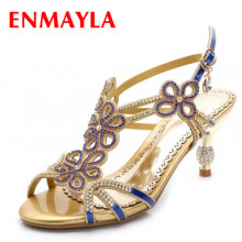 ENMAYER shoes women Rome Style women Sandals  Rhinestone  Platform Sandals  Sexy High Heels Women Sandals rome style pom poms and geometric pattern design sandals for women