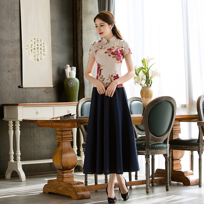 Retro Traditional Chinese Dress Blend Linen Cheongsam Dress Set Two Piece Ladies Print Flower Elegant Plus Size Qipao Swing Skir