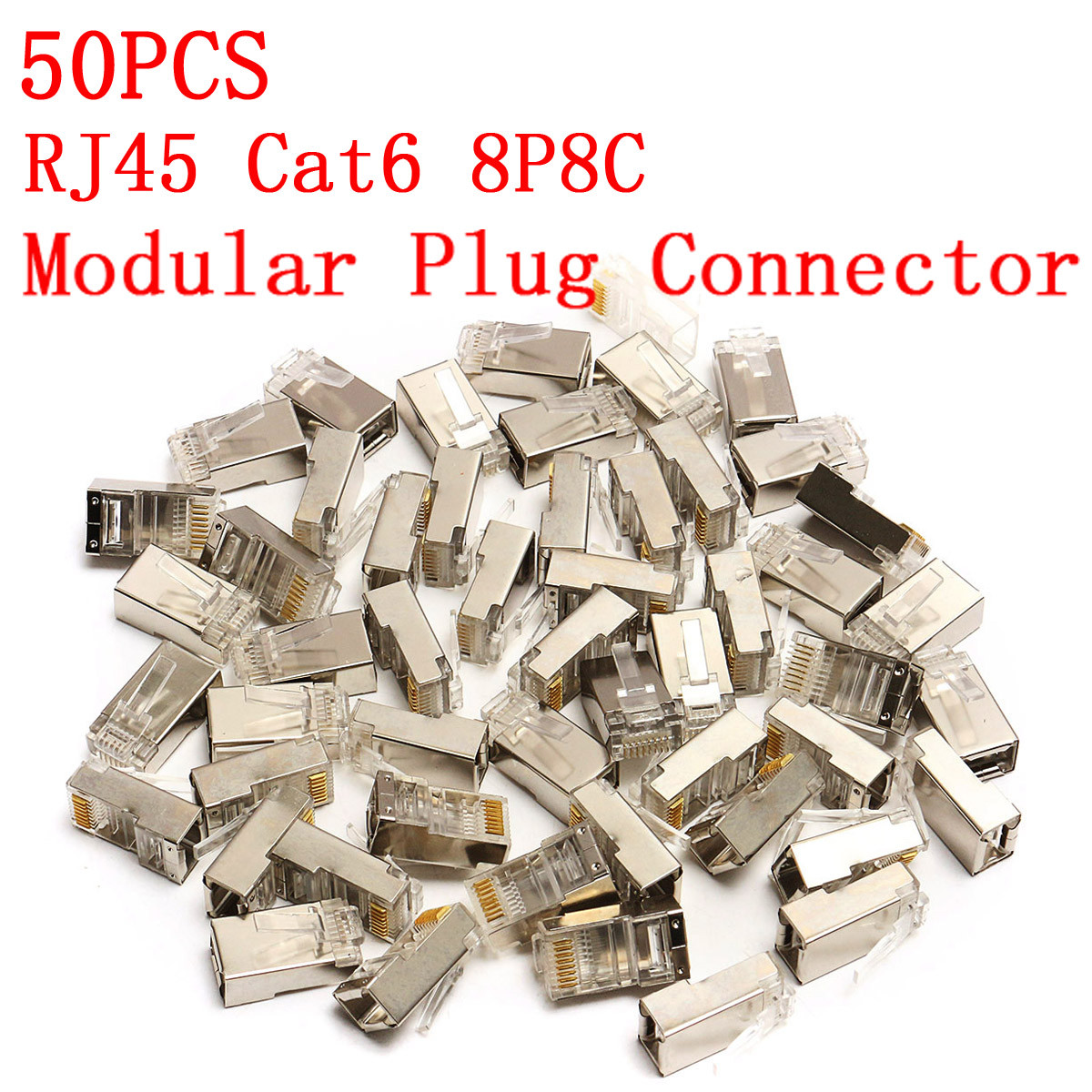 High Quality 50Pcs RJ45 Cat6 Connector 8Pin 8P8C Shielded Stranded Crimp Modular Plug Connectors Socket Internet Connector imc hot 10 pcs rj45 8p8c double ports female plug telephone connector