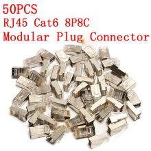 Alta qualidade 50 pces rj45 cat6 conector 8pin 8p8c blindado preso friso modular plug conectores soquete conector internet