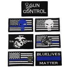 Каратель полиция синяя Жизнь Материя тонкая Голубая линия флаг USMC Сейнт Майкл Ст тактический боевой метки патч Эмблема нашивки