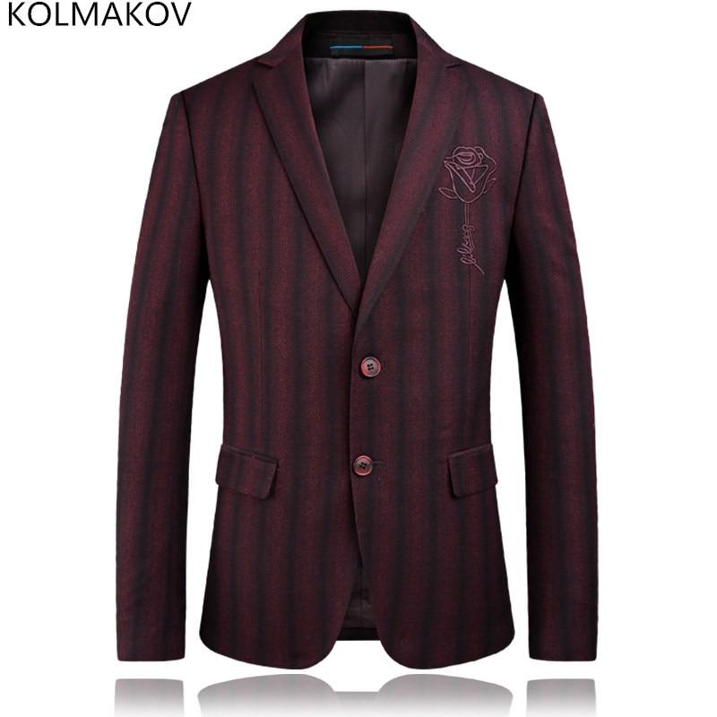 KOLMAKOV 2019 Brand Luxury Wine Red Stripe Formal Wedding Groom Blazers Men Gentlemen Costume Stage Dress Masculino Homme Blazer