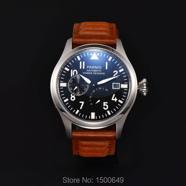 Parnis Fashion 47mm Men Watch Power Reserve Auto Date Men's Mechanical Watches Black Dial <font><b>ST2530</b></font> Automatic Movement Watch image