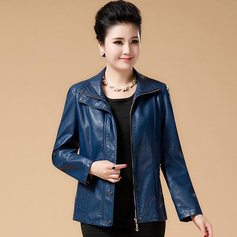 Plus Size 6XL Fashion Women Faux Soft   Leather   Jackets Ladies Elegant Pu   Leather   Zippers Black Coat Female Outerwear QH1163
