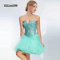 Сексуальное мятно зеленое короткое платье на выпускной 2019 милое тяжелое Бисероплетение выпускное платье с открытыми плечами вечерние плат